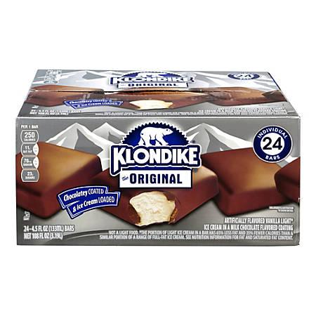 Klondike Original Ice Cream Bars, 4.5 Oz, Box Of 24 Bars