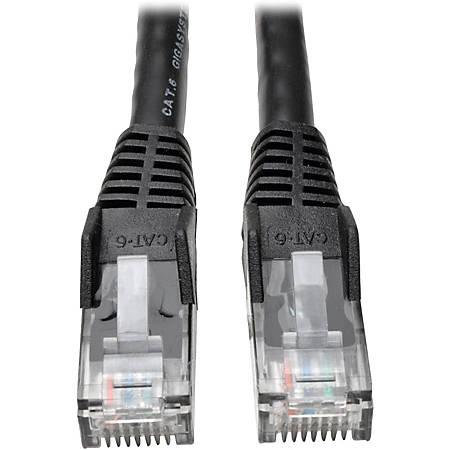 Tripp Lite 1ft Cat6 Gigabit Snagless Molded Patch Cable RJ45 M/M Black 1'
