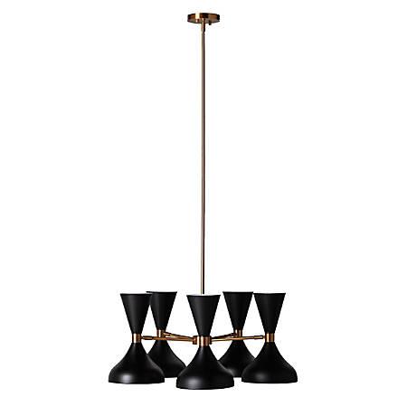"Southern Enterprises Anza 5-Light Metal Pendant Lamp, 12-3/4""H, Black Shades/Antique Brass Base"
