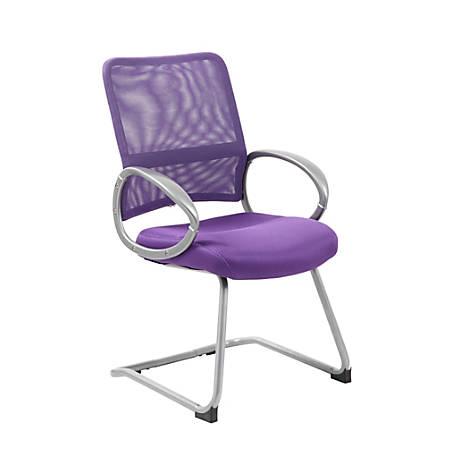 "Boss Mesh Guest Chair, 39""H x 24""W x 24""D, Purple/Silver"