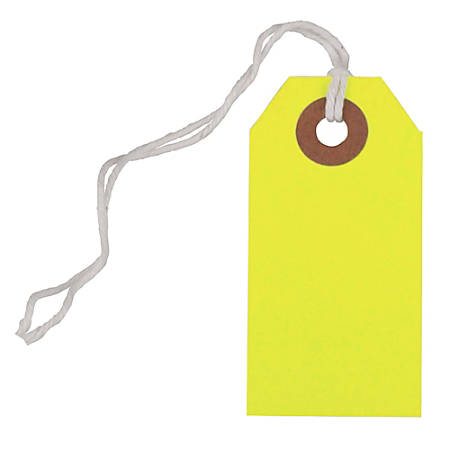 "JAM Paper® Tiny Gift Tags, 3-3/8"" x 2-3/4"", Neon Yellow, Pack Of 10 Tags"