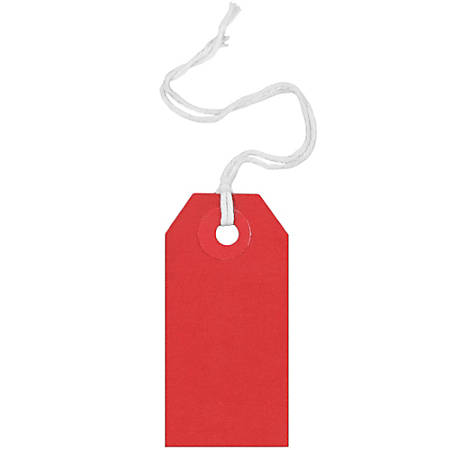 """JAM Paper® Tiny Gift Tags, 3-3/8"""" x 2-3/4"""", Red, Pack Of 10 Tags"""