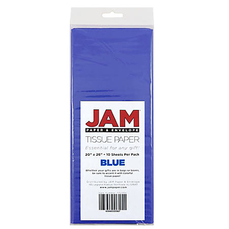 """JAM Paper® Tissue Paper, 26""""H x 20""""W x 1/8""""D, Blue, Pack Of 10 Sheets"""