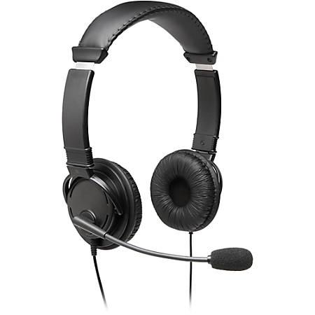 Kensington Hi-Fi Headphones with Mic - Stereo - Mini-phone - Wired - Over-the-head - Binaural - Circumaural - 6 ft Cable - Noise Cancelling Microphone - Black