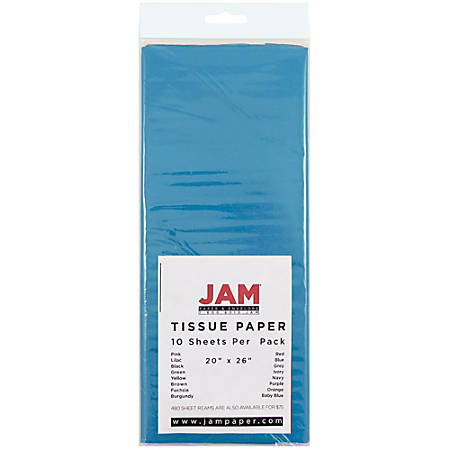 """JAM Paper® Tissue Paper, 26""""H x 20""""W x 1/8""""D, Bright Blue, Pack Of 10 Sheets"""