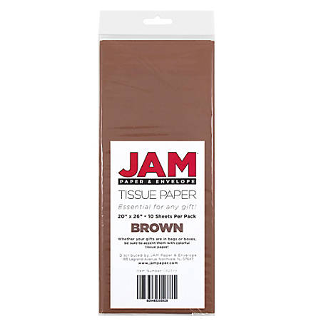 "JAM Paper® Tissue Paper, 26""H x 20""W x 1/8""D, Brown, Pack Of 10 Sheets"