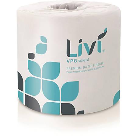 "Livi Leaf VPG Bath Tissue - 2 Ply - 4.49"" x 3.98"" - 500 Sheets/Roll - White - Virgin Fiber - Embossed, Absorbent - For Office Building, Restroom - 80 / Carton"