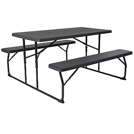 """Flash Furniture Insta-Fold Wood-Grain Plastic Folding Picnic Table and Benches, 28-1/4""""H x 53-3/4""""W x 58-1/4""""D, Charcoal"""