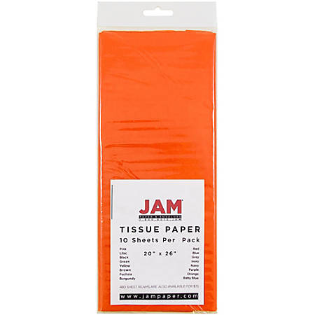 "JAM Paper® Tissue Paper, 26""H x 20""W x 1/8""D, Orange, Pack Of 10 Sheets"