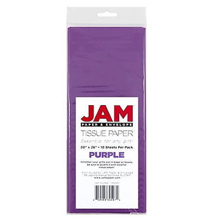 "JAM Paper® Tissue Paper, 26""H x 20""W x 1/8""D, Purple, Pack Of 10 Sheets"