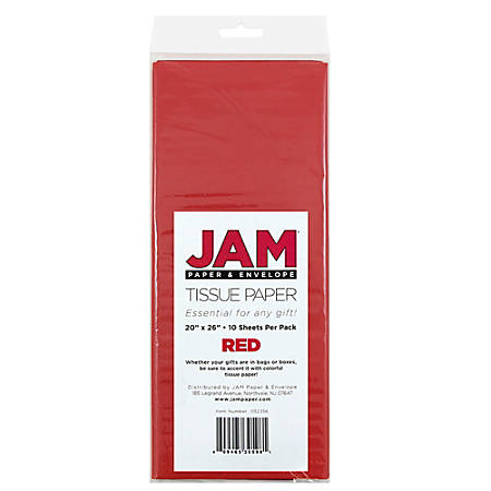 """JAM Paper® Tissue Paper, 26""""H x 20""""W x 1/8""""D, Red, Pack Of 10 Sheets"""