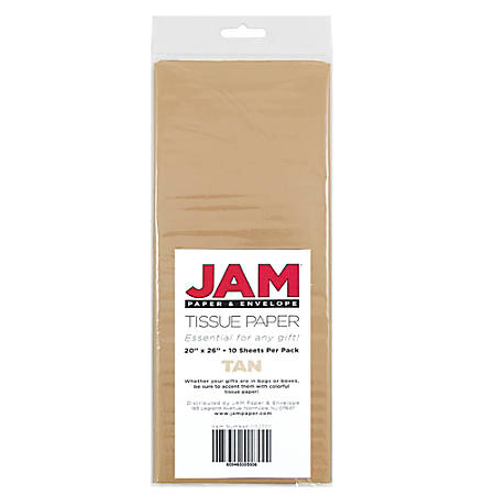"""JAM Paper® Tissue Paper, 26""""H x 20""""W x 1/8""""D, Tan, Pack Of 10 Sheets"""