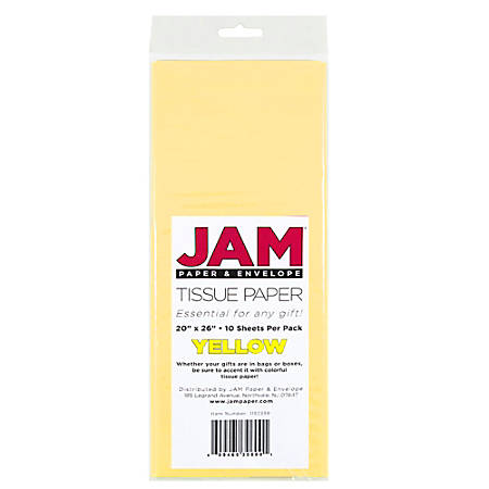 """JAM Paper® Tissue Paper, 26""""H x 20""""W x 1/8""""D, Yellow, Pack Of 10 Sheets"""