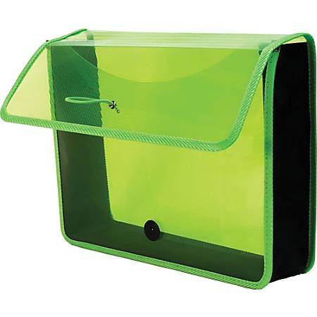 "Lion EPAND-N-FILE Poly Expanding Wallet - Letter - 8 1/2"" x 11"" Sheet Size - 3"" Expansion - Canvas, Polypropylene - Transparent Green - 1 Each"