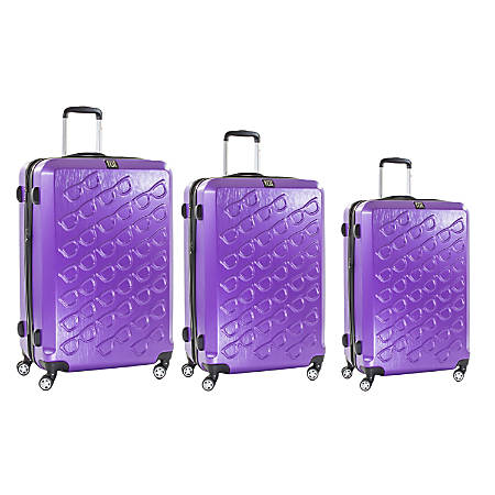 ful Sunglasses ABS Rolling 3-Piece Suitcase Luggage Set, Purple