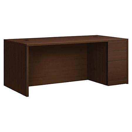 "HON® 10500 Series 72"" W Right Pedestal Desk, Mocha"