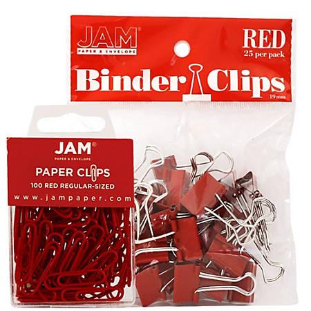 JAM Paper® Clips Combo Kit, Regular/Small, Red