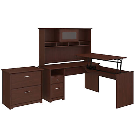"""Bush Furniture Cabot 3 Position L Shaped Sit to Stand Desk with Hutch and File Cabinet, 60""""W, Harvest Cherry, Standard Delivery"""