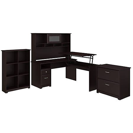 """Bush Furniture Cabot 3 Position L Shaped Sit to Stand Desk with Hutch and Storage, 60""""W, Espresso Oak, Standard Delivery"""
