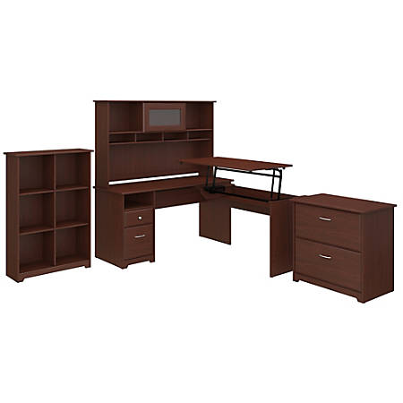 """Bush Furniture Cabot 3 Position L Shaped Sit to Stand Desk with Hutch and Storage, 60""""W, Harvest Cherry, Standard Delivery"""