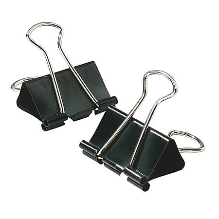 "Office Depot® Binder Clips, Small, 3/4"" Wide, 3/8"" Capacity, Black, 12 Clips Per Box, Pack Of 12 Boxes"