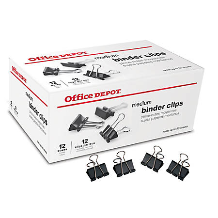 "Office Depot® Brand Binder Clips, Medium, 1 1/4"" Wide, 5/8"" Capacity, Black, Pack Of 144 (12 Boxes Of 12 Clips)"
