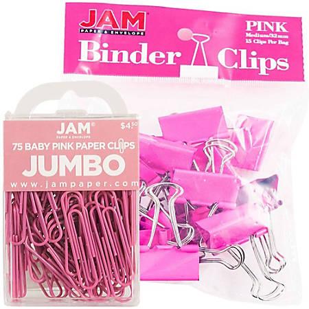 JAM Paper® Clips Combo Kit, Jumbo/Medium, Pink