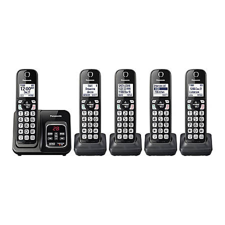 Panasonic® DECT 6.0 Cordless Telephone With Answering Machine, 5 Handsets, KX-TGD535M