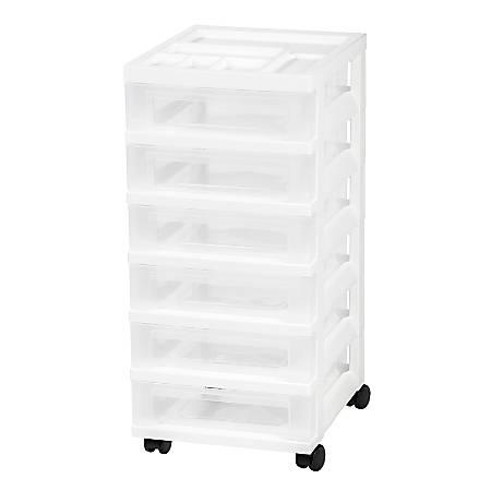 "IRIS Rolling Plastic Storage Cart, 6 Drawers, 26-7/16""H x 12-1/16""W x 14-1/4""D, White"