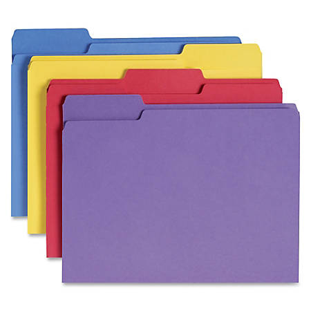 Smead® 1/3-Cut Antimicrobial Color Folders, Letter Size, Assorted Colors, Box Of 100