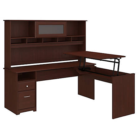 "Bush Furniture Cabot 3 Position L Shaped Sit to Stand Desk with Hutch, 72""W, Harvest Cherry, Standard Delivery"