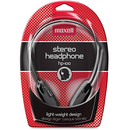 Maxell HP-100 Lightweight Stereo Headphone, Black