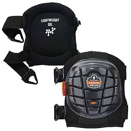 Ergodyne ProFlex Gel Knee Pads, Short Cap, One Size, Black, 357, Pack Of 2 Knee Pads
