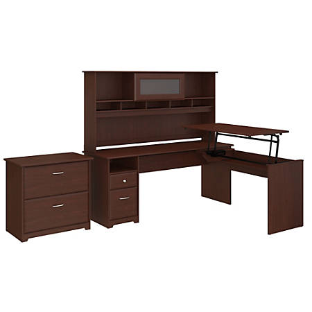 """Bush Furniture Cabot 3 Position L Shaped Sit to Stand Desk with Hutch and File Cabinet, 72""""W, Harvest Cherry, Standard Delivery"""