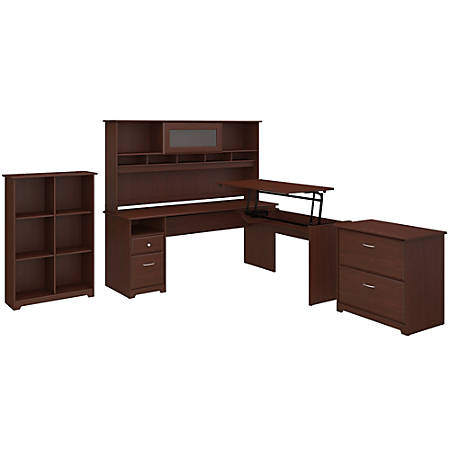 """Bush Furniture Cabot 3 Position L Shaped Sit to Stand Desk with Hutch and Storage, 72""""W, Harvest Cherry, Standard Delivery"""