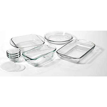 "Anchor Hocking 10Pc Essentials Bake Set - 2 quart Baking Dish, 8"" Length 8"" Width Baking Dish, 9"" Diameter Pie Pan, 1.5 quart Loaf Pan, 6 fl oz Custard Cup, Lid - Glass, Plastic Lid - Baking - Dishwasher Safe - Microwave Safe - Oven Safe - Clear"