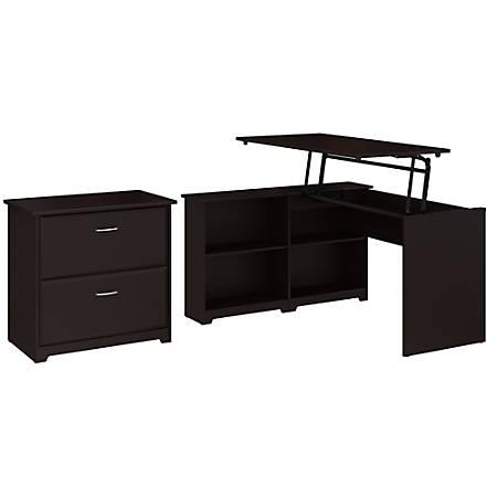 "Bush Furniture Cabot 3 Position Sit to Stand Corner Bookshelf Desk with Lateral File Cabinet, 52""W, Espresso Oak, Standard Delivery"
