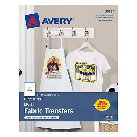 Avery Personal Creations Light T Shirt Transfers Pack Of 18 By