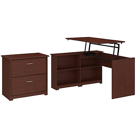 "Bush Furniture Cabot 3 Position Sit to Stand Corner Bookshelf Desk with Lateral File Cabinet, 52""W, Harvest Cherry, Standard Delivery"