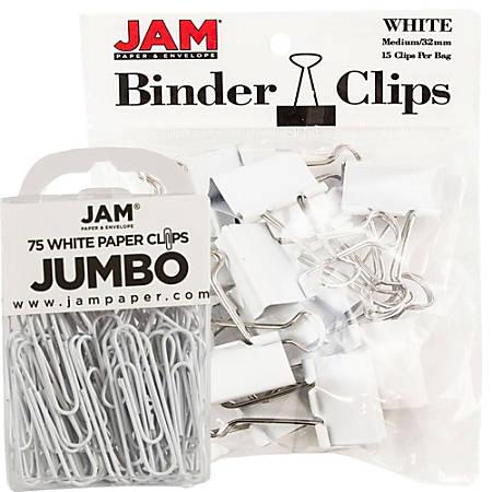 JAM Paper® Clips Combo Kit, Jumbo/Medium, White