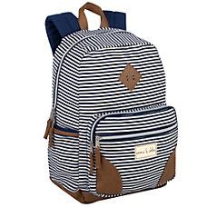 Emma Chloe Stripe Fashion Backpack Navy