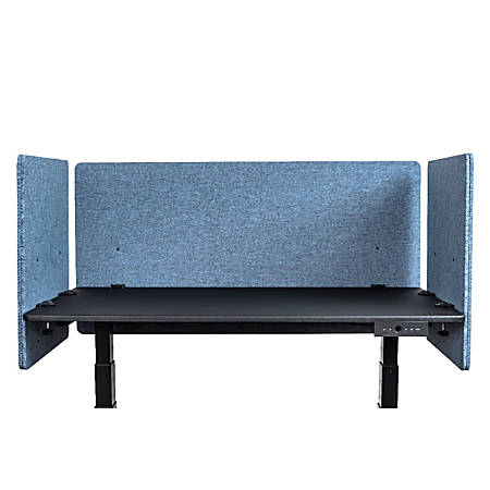 """Luxor RECLAIM Acoustic Privacy Desk Panels, 48""""W, Pacific Blue, Pack Of 3"""