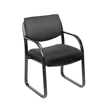 "Boss® Fabric Contoured Guest Chair, 33""H x 22 1/2""W x 21""D, Black/Black"