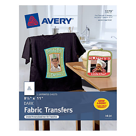 Avery Personal Creations Dark T Shirt Transfers Pack Of 5