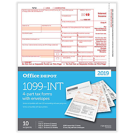 "Office Depot® Brand 1099-INT Laser Tax Forms And Envelopes, 2019 Tax Year, 4-Part, 8-1/2"" x 11"", Pack Of 10 Forms"