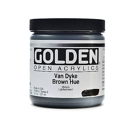 Golden OPEN Acrylic Paint, 8 Oz Jar, Van Dyke Brown Hue