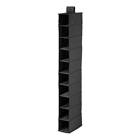 "Honey-Can-Do 10-Shelf Hanging Vertical Closet Organizer, 54""H x 6""W x 12""D, Black"
