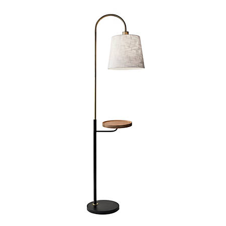 Adesso Jeffrey Shelf Floor Lamp 65 H White Shade Black