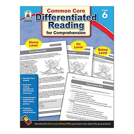 Carson-Dellosa Differentiated Reading For Comprehension, Grade 6