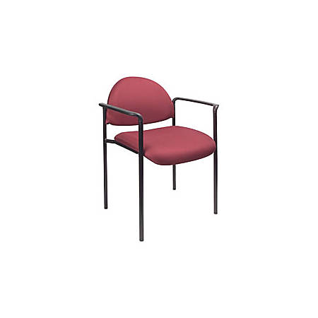 """Boss® Fabric Stacking Chair, With Arms, 30 1/2""""H x 22 1/2""""W x 23 3/4""""D, Burgundy Fabric"""